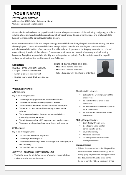 Payroll Administrator Resume