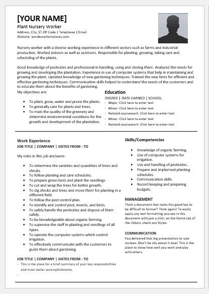 Plant Nursery Worker Resume Template for Word | Word & Excel