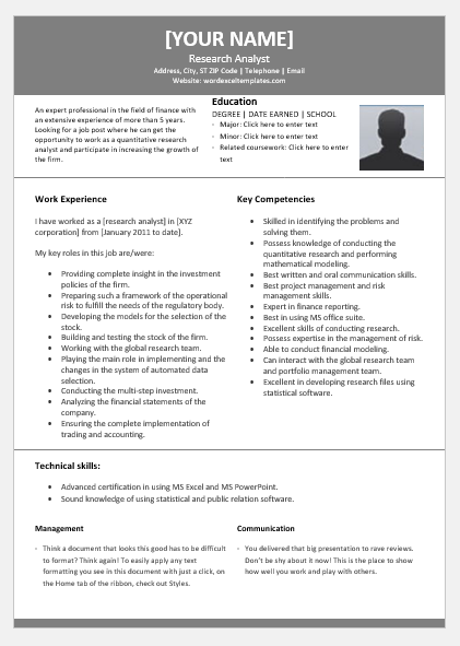 quantitative research analyst resume for word