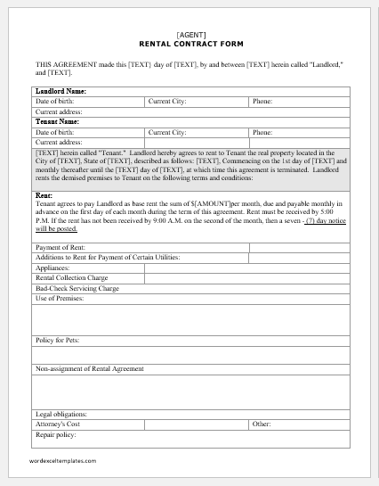 Rental Contract Form Template For Ms Word Word Excel