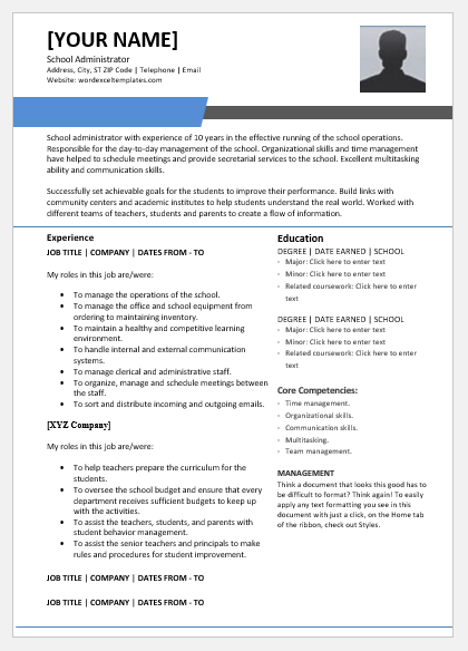 School Administrator Resume Template for Word | Word & Excel