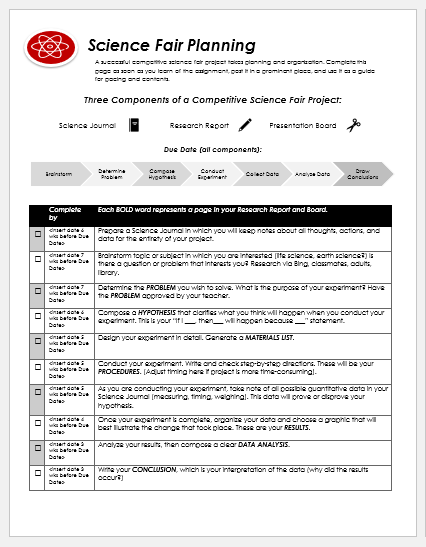 Science fair planner template