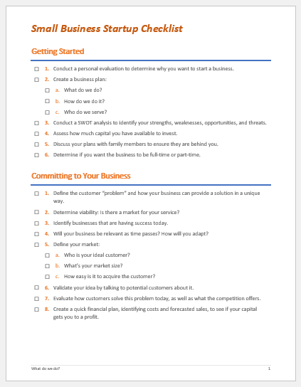 Small Business Startup Checklist Template