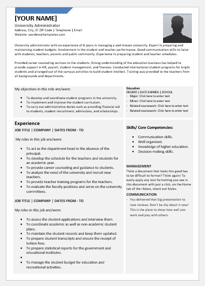 University Administrator Resume