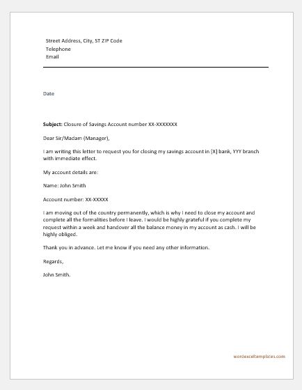 Account Closing Letter to Bank