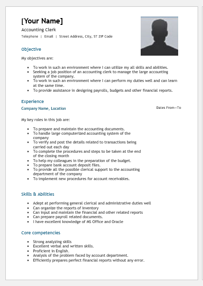 Accounting Clerk Resume Objective Examples Best Resume Examples