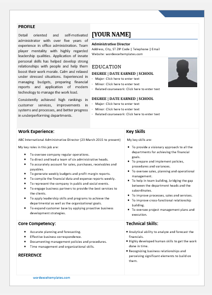 Administrative Director Resume