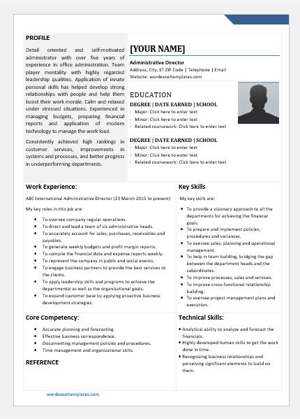Administrative Director Resume