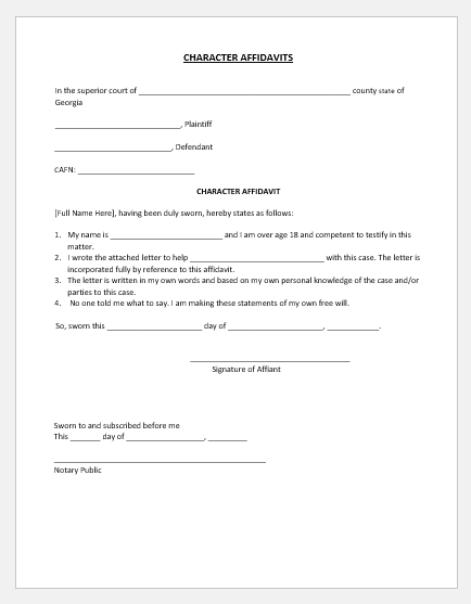 Affidavit in support of character