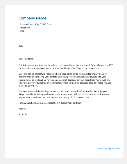 employee termination letter sample template