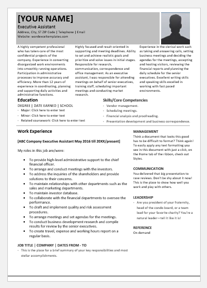 Executive Assistant Resume