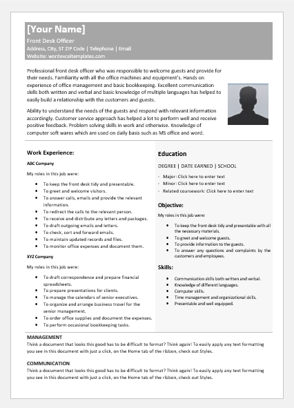 Front Desk Officer Resume