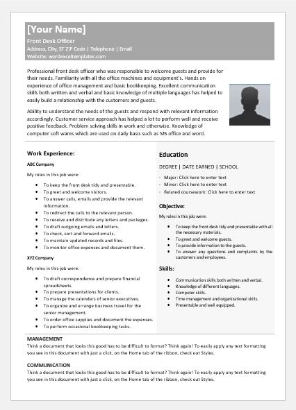 Front Desk Officer Resume