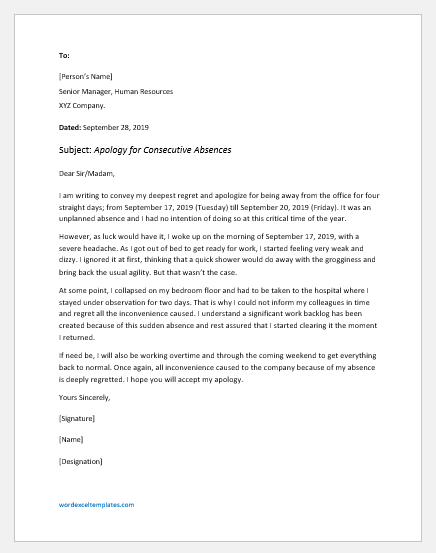 Letter of Consideration for Being Absent from Work