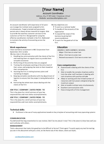 National Account Coordinator Resume
