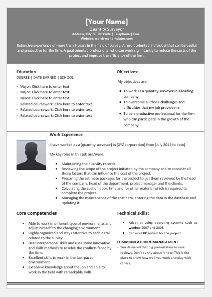 quantitative surveyor resume template for word