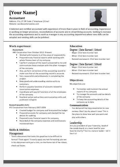 Senior Accountant Resume Template For Word Word Excel Templates