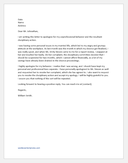 Apology Letter for Disciplinary Action