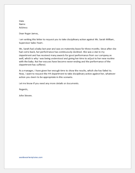 Request Letter for Disciplinary Action