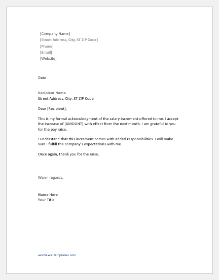 Salary Acknowledgement Letter