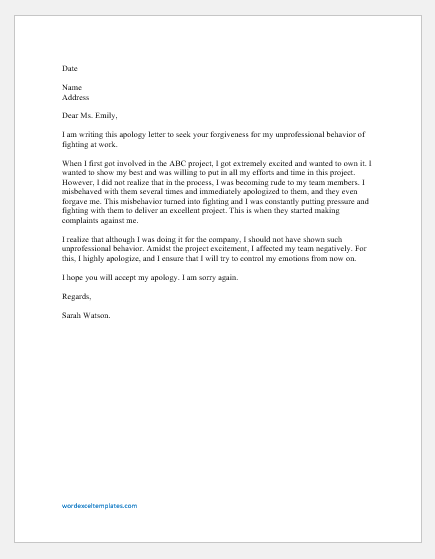 Apology Letter to Boss for Fighting at Work