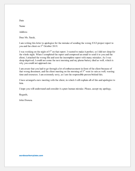 Apology Letter to Boss for Mistake