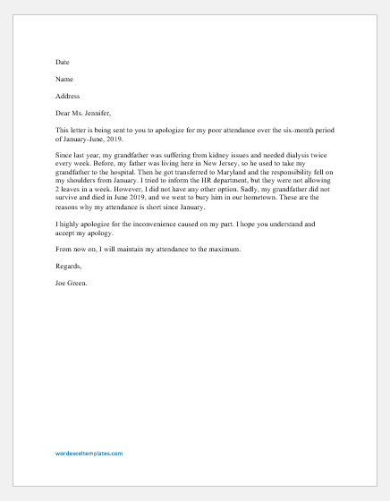 Apology Letter to Boss for Poor Attendance