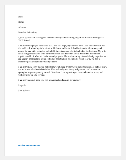 Apology Letter to Boss for Quitting Job