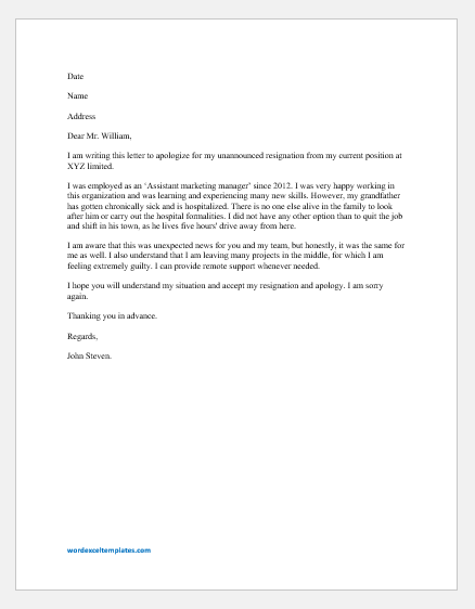 Leaving Letter To Manager from www.wordexceltemplates.com