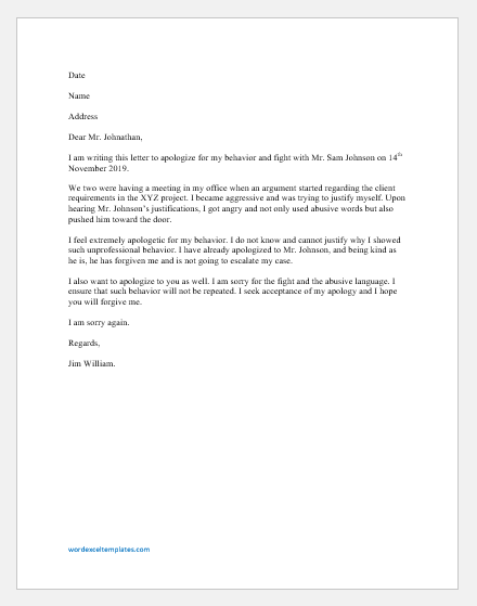 Apology Letter to Boss for having a Fight with Colleague