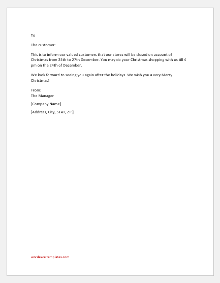 Christmas Closure Email