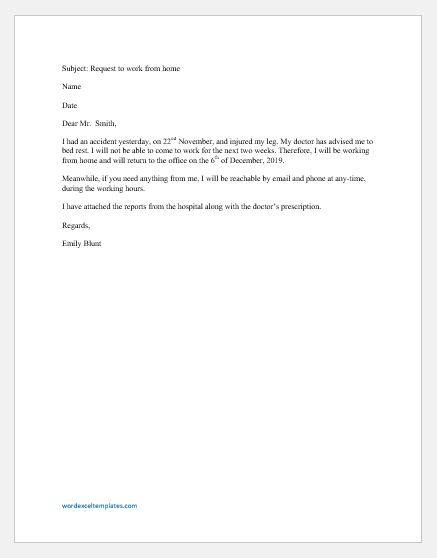 Excuse Letter to Boss to allow Working from Home