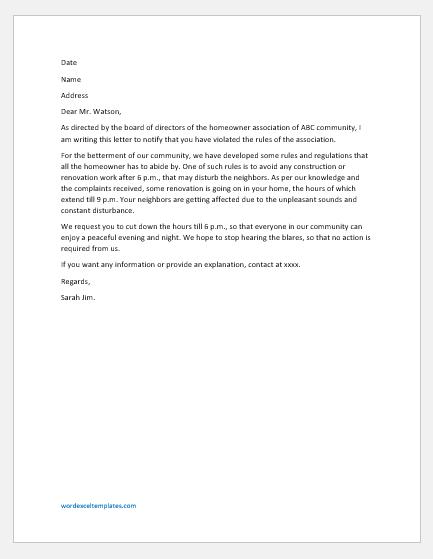 Homeowner Association Violation Letter