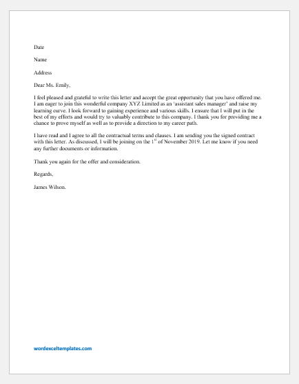 Response To Job Offer Letter from www.wordexceltemplates.com