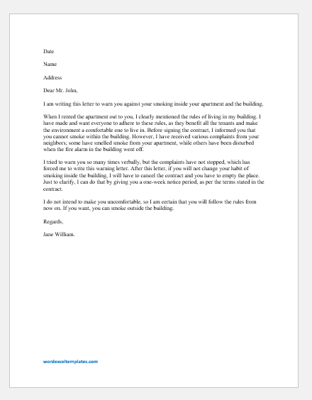No Smoking Warning Letter to Tenant