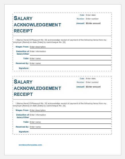 Salary Acknowledgement Receipt Template