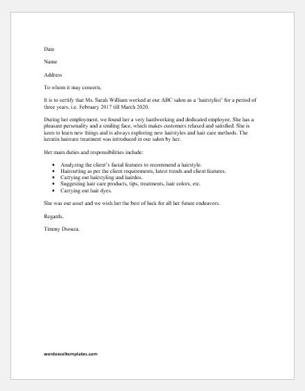 Salon Experience Letter