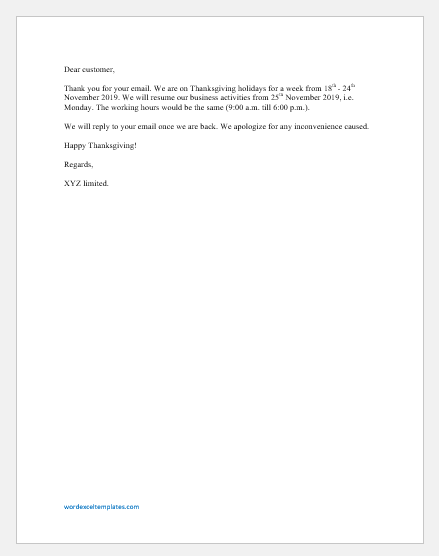 Thanksgiving Closure Email
