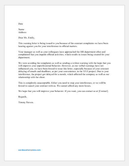 Warning Letter for Interfering Official Matters