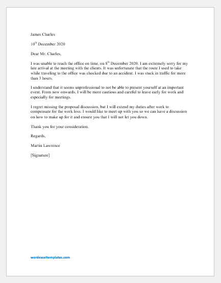Apology Letter for Arriving Late at the Workplace