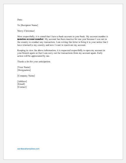 Bank Account Reopen Request Letter