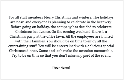 Christmas Office Party Invitation Message