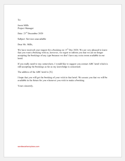 Letter for No Longer Accepting the Bookings