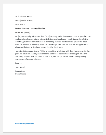 One Day Leave Application For School Teacher To Principal Letter