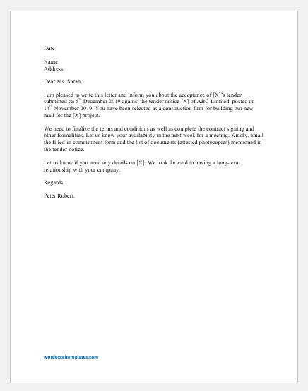 Tender Acceptance Letter Template