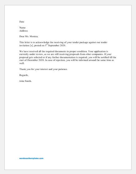 Tender Acknowledgment Letter Template