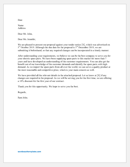 Tender Cover Letter Template