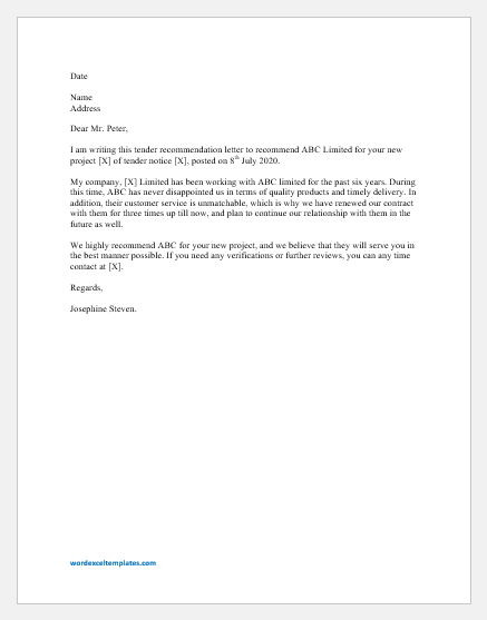 Tender Recommendation Letter Template For Word Word Excel Templates