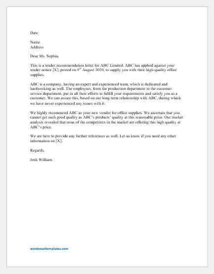 Tender Recommendation Letter
