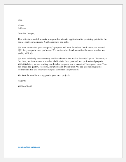 Tender Request Letter